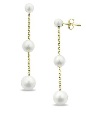 596260a3a Zales 6.0 - 6.5mm Cultured Freshwater Pearl Triple Drop Earrings in 10K Gold
