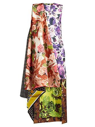 Richard Quinn Asymmetric Printed Satin Dress - Womens - Multi