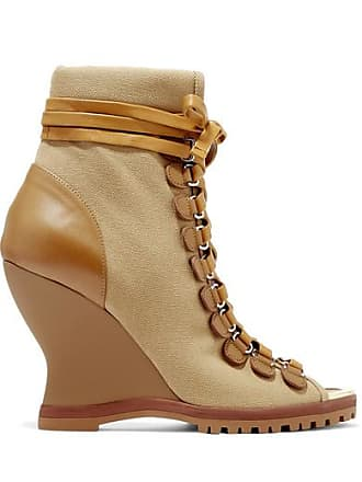 177dd052f3 Chloé River Canvas And Leather Wedge Ankle Boots - Brown