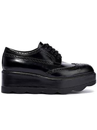 465edfc0e87 Prada Prada Woman Glossed-leather Platform Brogues Black Size 35.5