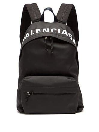 Balenciaga Wheel Logo Embroidered Backpack - Mens - Black