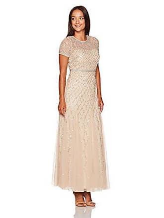 Adrianna Papell Womens Short-Sleeve Beaded Mesh Gown Petite, Champagne, 14P