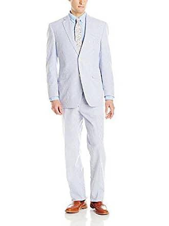 U.S.Polo Association Mens Two Button Nested Seersucker Suit, Blue/White, 38/Short
