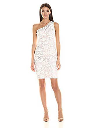 Calvin Klein Womens One Shoulder Lace Dress, Ivory, 2