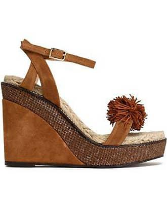 f4b57ff8d5f Castaner Castañer Woman Pompom-embellished Suede Wedge Sandals Tan Size 38