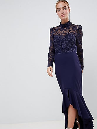 835844da1daf City Goddess Petite Long Sleeve High Neck Fishtail Maxi Dress With Lace  Detail