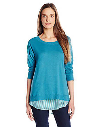 Joan Vass Womens Sweater with Silk Insert, Blue Jay, 2