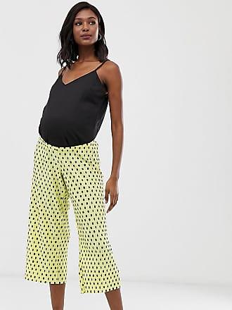 d13542139299 Asos Maternity ASOS DESIGN Maternity under the bump plisse spot culotte  pants - Yellow