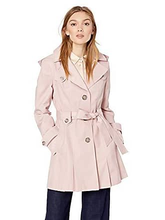 Via Spiga Womens Single-Breasted Belted Trench Coat with Hood, Peony XX-Large