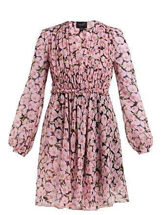 Giambattista Valli Floral Print Silk Chiffon Mini Dress - Womens - Black Multi