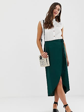 26a529f3a9 Asos Tall ASOS DESIGN Tall wrap midi skirt with tie side - Green