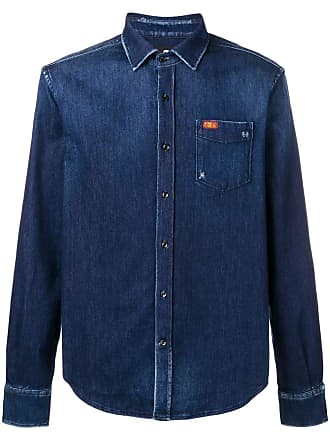 7 For All Mankind Camisa jeans com bolso no busto - Azul