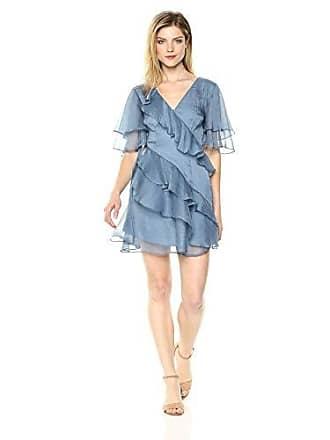 Keepsake the Label Womens Genesis Short Flutter Sleeve Ruffle Mini Dress, Dusty Blue M