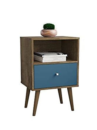 Manhattan Comfort 203AMC93 Liberty Modern 1 Drawer Bedroom Nightstand/End Table, Rustic Brown/Aqua Blue