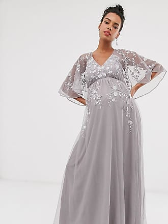 Asos Maternity ASOS DESIGN Maternity flutter sleeve maxi dress in embroidered mesh-Grey