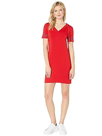 Michael Kors Logo Sleeve Hoodie Dress (Scarlet) Womens Dress