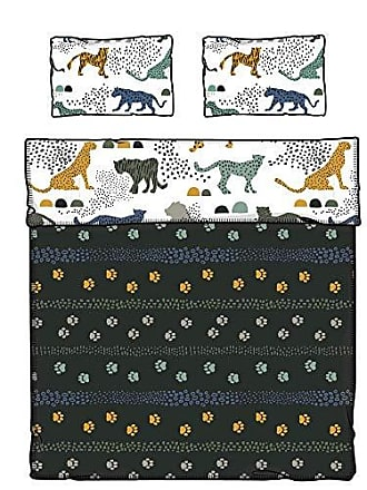 South Shore Furniture DreamIt Full Comforter and Pillowcase Safari Wild Cats, White and Green