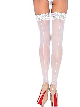 cc0aafcf8 Leg Avenue Womens Sheer Thigh High Stockings with Back Seam and Lace Top