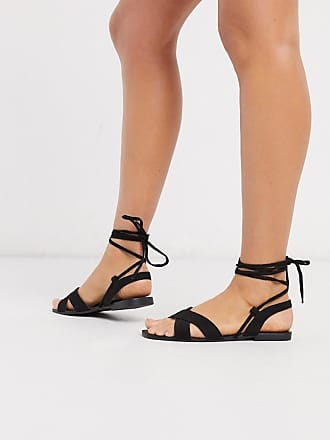 Qupid Qupid - Sandali bassi neri allacciati sulla gamba-Nero