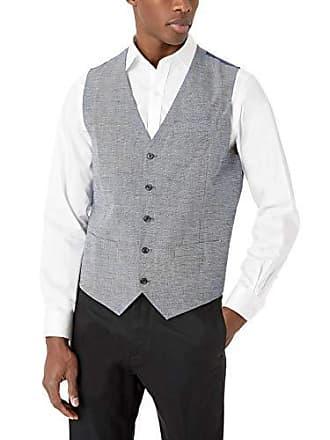 Perry Ellis Mens Slim Fit End Linen Vest, Bijou Blue-4ESV4418, Large