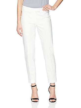 Anne Klein Womens Cotton Double Weave Slim Pant, White, 8