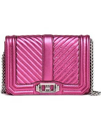 Rebecca Minkoff Rebecca Minkoff Woman Love Small Quilted Metallic Leather Shoulder Bag Magenta Size