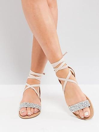 5c7d6a47572 Asos Wide Fit Fi embellished flat sandals - Beige