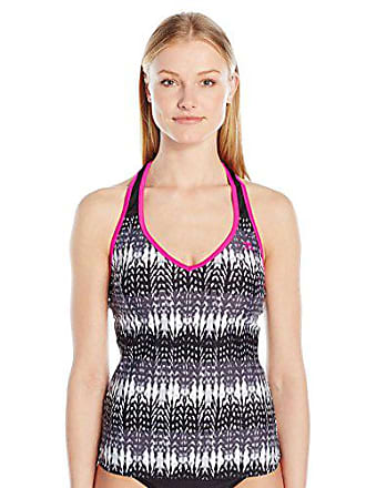 ZeroXposur Womens Knit Mesh Action Tankini, Mulberry, 12
