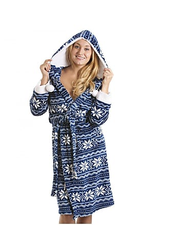 9cffe2271d Camille Blue And Red Luxury Supersoft Velour Aztec Bathrobe 10 12 BLUE