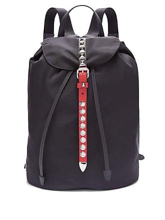 a4baf29e44e2 Prada New Vela Studded Nylon Backpack - Womens - Black Red