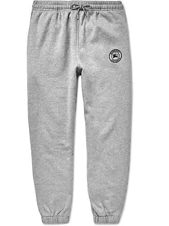 Burberry Embroidered Mélange Fleece-back Cotton-blend Jersey Sweatpants - Gray