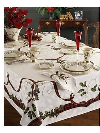 Lenox Holiday Nouveau Tablecloth, 60 by-140-Inch Oblong/Rectangle, Ivory