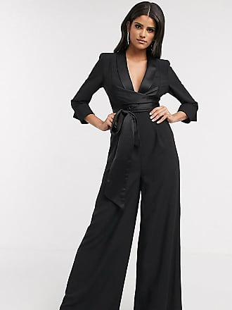 Asos Tall ASOS DESIGN Tall plunge tux jumpsuit with wide leg-Black