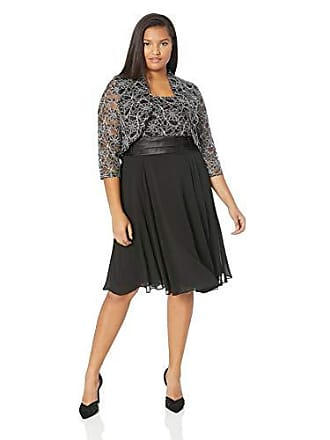 73c65560f6f7 Jessica Howard Plus Size Womens Fit and Flare Bolero Jacket Dresss with  Tucked Waist, Black