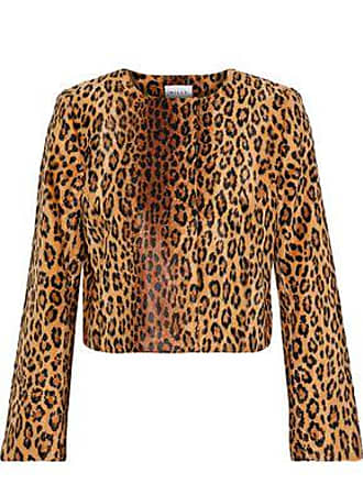 Milly Milly Woman Cropped Printed Faux Fur Jacket Animal Print Size 6