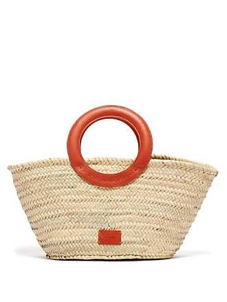Zeus + Dione Scorpio Leather Trimmed Raffia Basket Bag - Womens - Orange Multi
