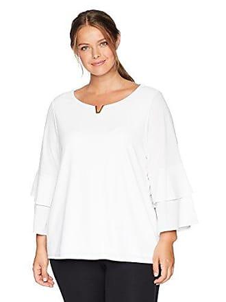 693a1e633b8f49 Calvin Klein Womens Plus Size Double Ruffle Blouse with Hardware, Soft  White, 2X