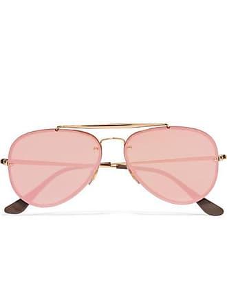 4bfaee79f56 Ray-Ban Aviator Gold-tone Mirrored Sunglasses - Pink