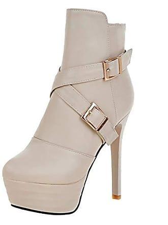 ecd752f9595752 Aiyoumei Damen Stiletto Plateau Stiefeletten mit Schnallen Ankle Boots High  Heels Kurzstiefel Beige 41.5 EU