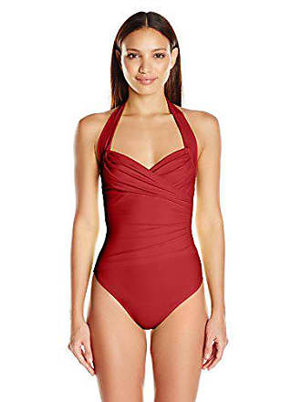 5ef691863a4ac Norma Kamali Womens Halter Sweetheart Mio One Piece Swimsuit, Red, XS