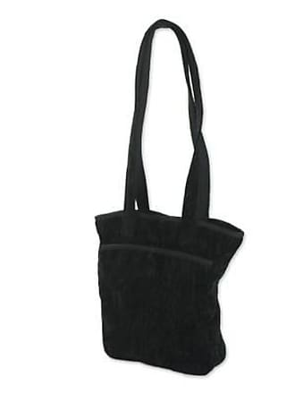 Novica Bamboo chenille and cotton shoulder bag, Midnight Forest - Central American Bamboo Chenille Purse