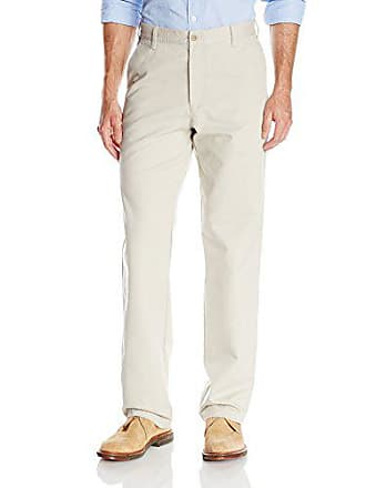 Izod Mens Saltwater Chino Straight Fit Flat Front Stretch Pant, Pale Beige, 33W x 30L