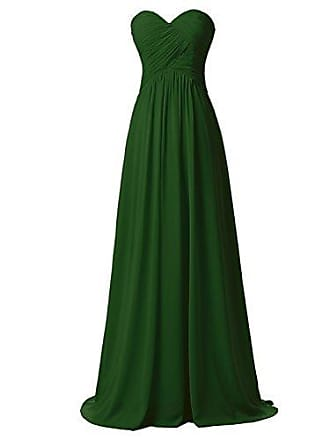 d6bca1e926f4d Clearbridal Damen Chiffon Herzform Lange Abendkleid Maxikleid Brautjungfer  Kleid CSD182 Olivgrün Gr.EU46