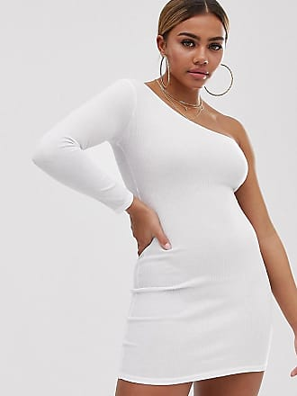 f4412d7405 Boohoo Petite exclusive ribbed bodycon dress with one shoulder in white