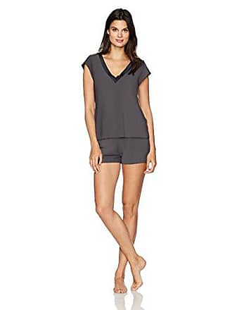 Maidenform Womens Dried Botanicals Satin Trim V-Neck Shirt Short Set, Charcoal Grey, Small