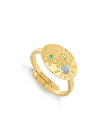 SVP Jewellery Dynamite Labradorite & Mixed Quartz 18kt Gold Vermeil Adjustable Ring - Adjustable