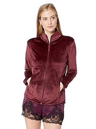 Natori Womens Solid Velour Jacket, Port, XL