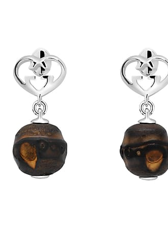 Gucci Heart Double G Bamboo Silver Earrings