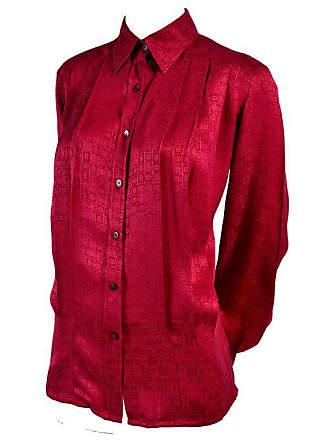 ec2fb49e25e Gucci Vintage Pleated Red Silk Blouse With Tonal Gucci Logo Print