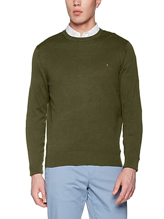 976cec26a Tommy Hilfiger Mens Cotton Silk Cneck Jumper, Green (Four Leaf Clover HTR  303)